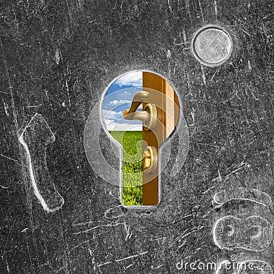 Open door behind old lock keyhole