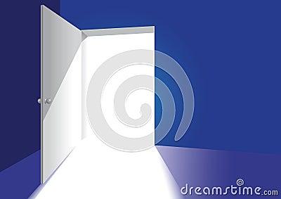 An open door in a blue room