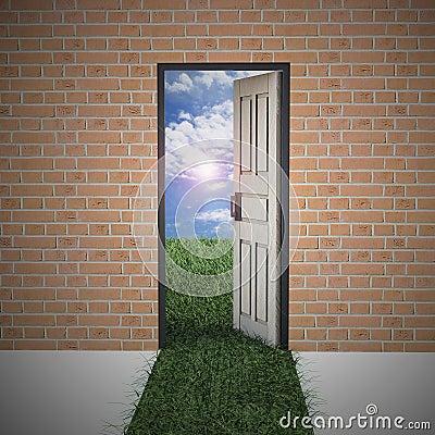 Open door from brick wall to new life .