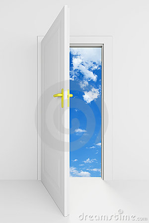 Open door with cloudy blue sky behind it
