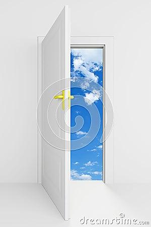 Open door with cloudy blue sky behind it