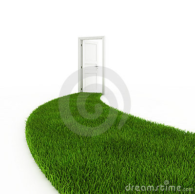 Open door with grass footpath