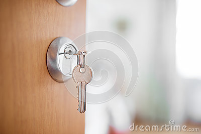 open door with keys key in keyhole stock photo image 61813952