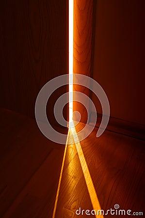 Open door and light