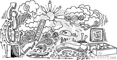 Open door: sketchy doodles vector