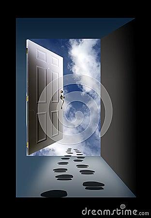 Open Door Sky And Footprints Royalty Free Stock Photo