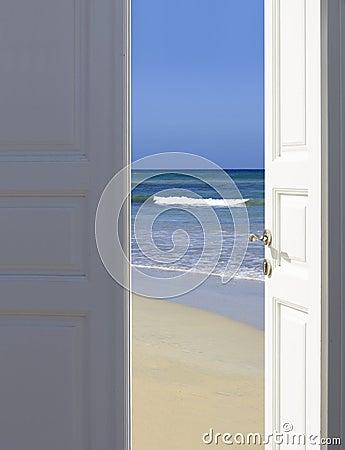 Open the door to paradise Stock Photo