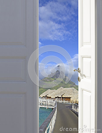 Open the door to paradise Stock Photo
