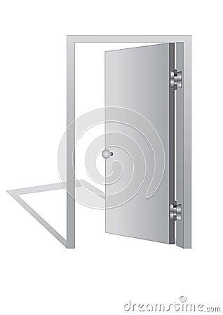 Open door on  white