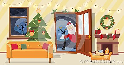 Open door and window overlooking the snow-covered trees. Christmas tree, gifts in boxes and furniture, wreath, fireplace inside. Stock Photo