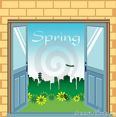 Open doors during springtime