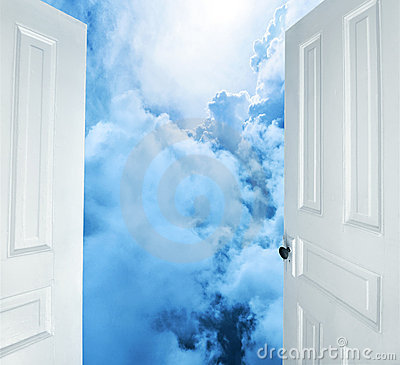 Open doors to dreamy blue clouds