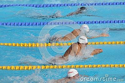 Open EDF 2010, breaststroke race Editorial Stock Photo