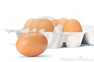 Open eggbox and egg
