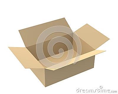 Open empty cardboard 3d box