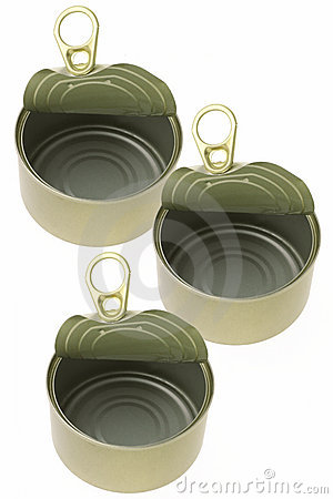 Open empty tin cans