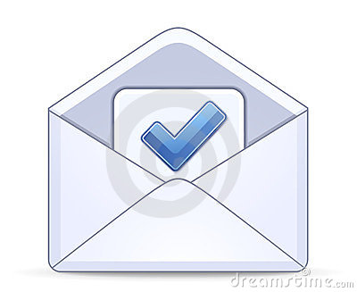 Open envelope with a blue check mark