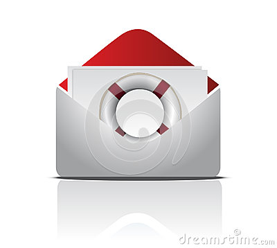 Open Envelope With Life Buoy illustration design