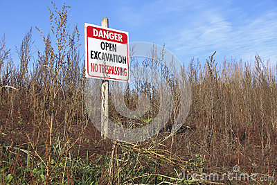 Open Excavation Sign