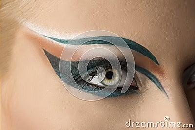 Open eye closeup with makeup