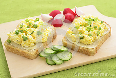 Open face egg salad sandwich