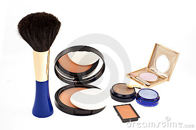 Open face powder, brush and eyeshadows
