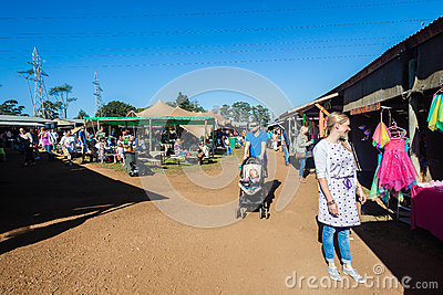Open Farmers Market Families Editorial Stock Image