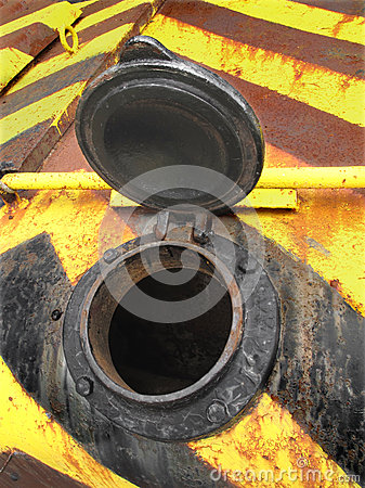 Open filler cap on an old tank