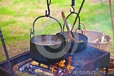 Open fire cooking.