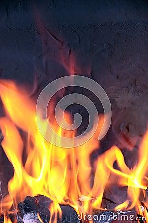Open fire flames smoking
