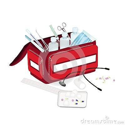 Free Open First Aid Box With Medical Supplies Royalty Free Stock Images - 54400859
