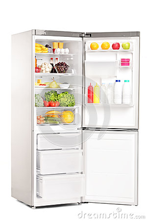 Free Open Fridge Full Of Healthy Food Products Stock Image - 32538011
