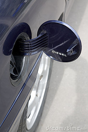 Open fuel tank on a car