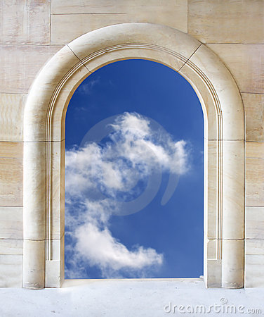 Open gate to blue sky