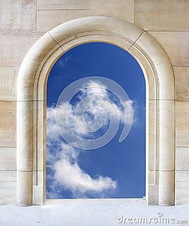 Open gate to blue sky