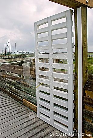 Open gate to boardwalk