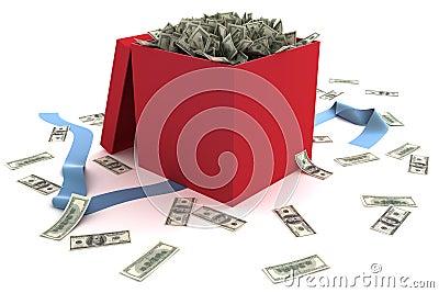 Open gift box full of money
