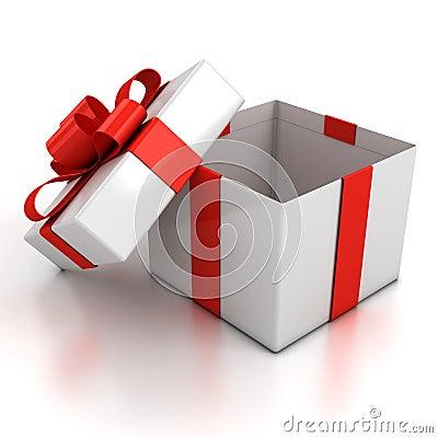 Free Open Gift Box Over White Background Stock Photos - 17091313