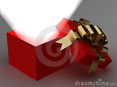 Open gift box with a ray of light.