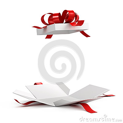 Free Open Gift Box With Red Ribbon Stock Photography - 54453582