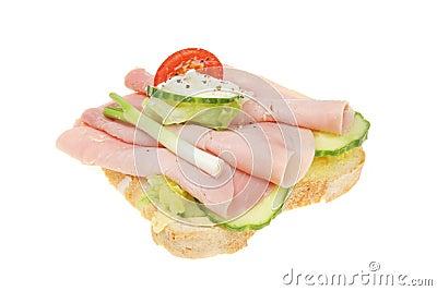 Open ham salad sandwich