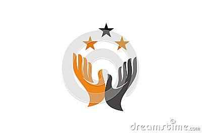 open hand logo Vector Illustration