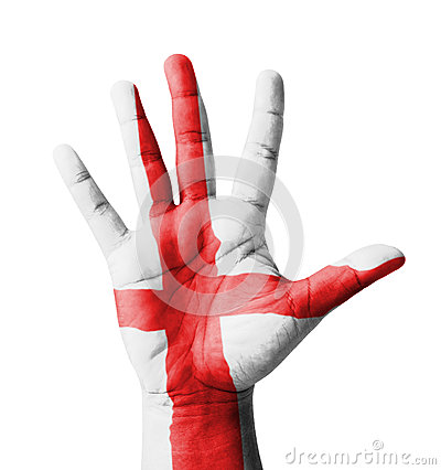 Open hand raised, England flag painted