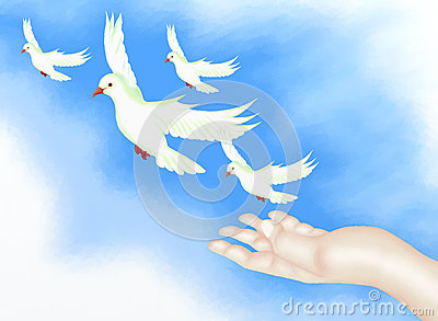 Open Hand Releasing Freedom Bird in Clear Blue Sky