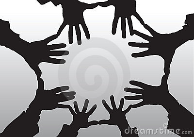 Open hands cartoon silhouette