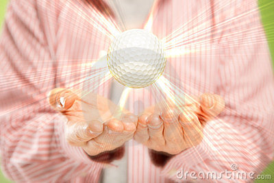 Open hands and golf ball