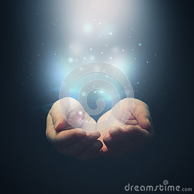 Free Open Hands With Magic Particles. Holding, Giving, Showing Concept. Royalty Free Stock Photos - 38474368