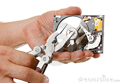 Open hard drive in hand