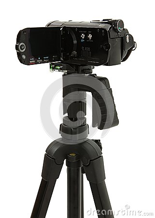 Open HD Camcorder On Tripod
