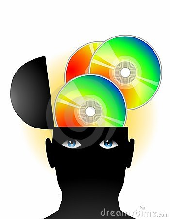 Open Head With Computer CDs